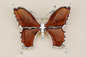 Broche papillon - bijou ambre et argent