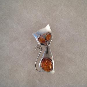 Broche chat malin - bijou ambre et argent
