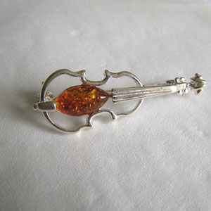 Broche violon argent - bijou ambre et argent