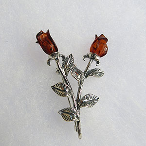 Broche Rose double  - bijou ambre et argent
