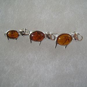 Broche trio d'éléphant - bijou ambre et argent
