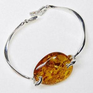 Bracelet cabochon - bijou ambre et argent