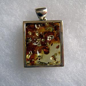Pendentif unique pepite - bijou ambre et argent