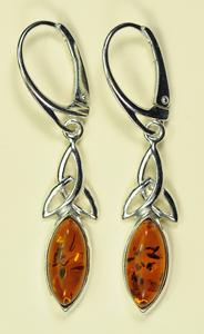 Boucles d'oreilles charmed long - bijou ambre et argent
