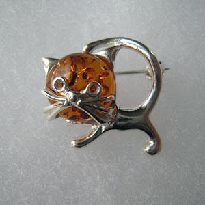 Broche chaton - bijou ambre et argent