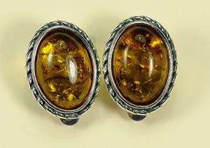 Boucles d'oreilles clip - bijou ambre et argent