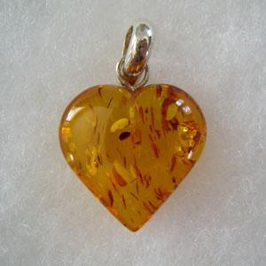 Pendentif gros coeur - bijou ambre et argent