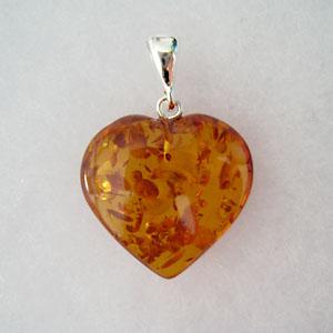 Pendentif ambre coeur maxi - bijou ambre et argent