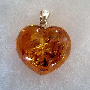 Pendentif coeur ambre GM - bijou ambre et argent