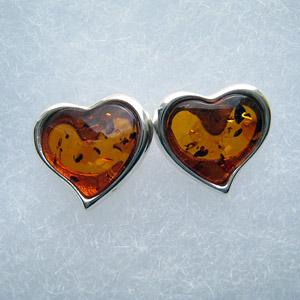 Coeur moyen - bijou ambre et argent
