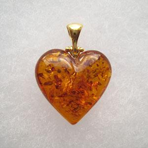 Pendentif  coeur moyen ambre Or - bijou ambre et argent