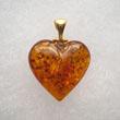 Pendentif  coeur moyen ambre Or