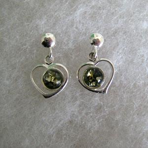 Boucles d'oreilles pti coeur - bijou ambre et argent
