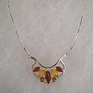 Collier Cécilia - bijou ambre et argent