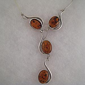collier Alicia - bijou ambre et argent