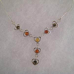 Collier Sandra - bijou ambre et argent