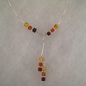 collier Mina - bijou ambre et argent
