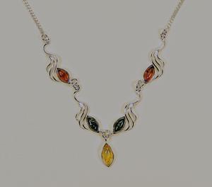 Collier Laetitia - bijou ambre et argent