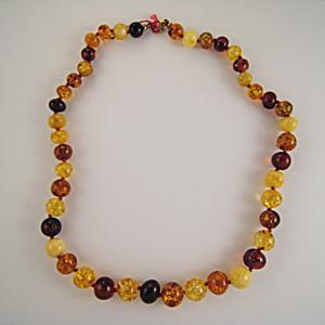 Collier ambre boules calibrées - bijou ambre et argent