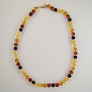 Collier Ambre carré multicolore - bijou ambre et argent