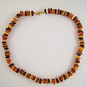 Collier Ambre multicolore - bijou ambre et argent