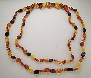 Collier ambre sautoir galets - bijou ambre et argent
