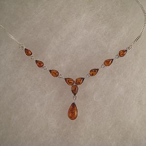 Collier Kathia - bijou ambre et argent