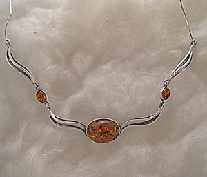 Collier Ariane - bijou ambre et argent