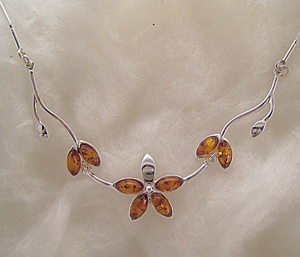 Collier Athéna - bijou ambre et argent