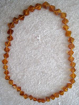 Collier ambre carré plat - bijou ambre et argent