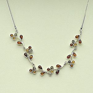 Collier fleurs - bijou ambre et argent