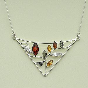 Collier triangle - bijou ambre et argent