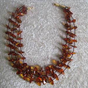 Collier d'ambre 3 rangs - bijou ambre et argent