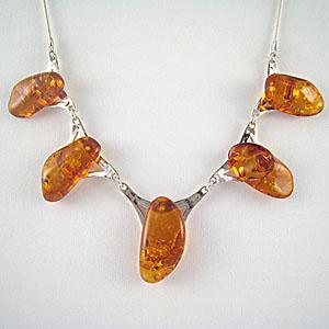 Collier - bijou ambre et argent