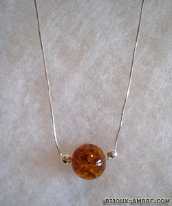 Collier Bérangère - bijou ambre et argent