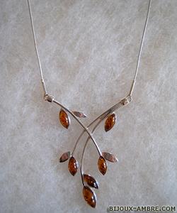 Collier Carine - bijou ambre et argent