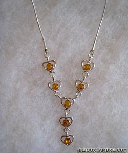 Collier Coralie - bijou ambre et argent