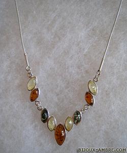 Collier Elodie - bijou ambre et argent