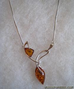Collier Géraldine - bijou ambre et argent
