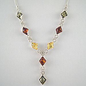 Collier losanges - bijou ambre et argent