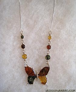 Collier Pauline - bijou ambre et argent