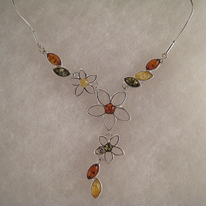 Collier Meira - bijou ambre et argent