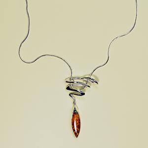 Collier Zora - bijou ambre et argent