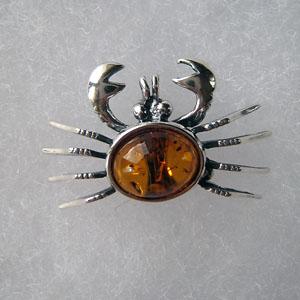 Broche crabe - bijou ambre et argent