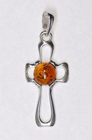 Croix argent boule d'ambre - bijou ambre et argent