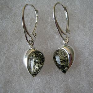 Boucles d'oreilles  demi coeur - bijou ambre et argent
