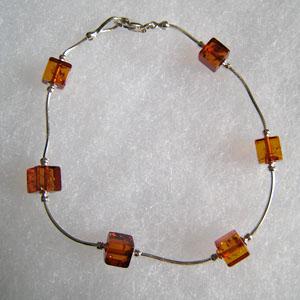 Bracelet cube - bijou ambre et argent
