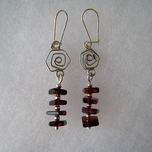 Boucles d'oreilles echelle - bijou ambre et argent