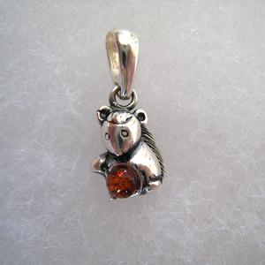 Pendentif écureuil - bijou ambre et argent