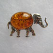 Broche lphant - bijou ambre et argent